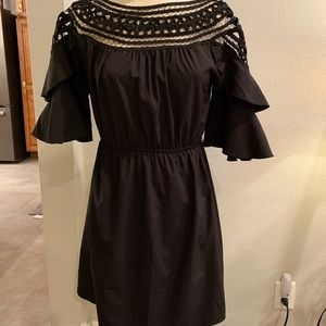 Black 3/4 Ruffle Sleeve Dress